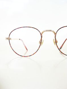 760628bbb1 Vintage 1980s Round Wire Rim Glasses Womens Ladies Amber Tortoiseshell Red  80s Eighties Indie Hipster Chic Retro Deadstock Geeky Nerdy