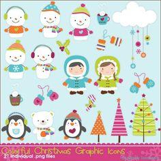 Colorful Christmas Graphic Icons