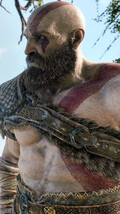 GOD OF WAR: The details on Kratos and Atreus face is mind-blowing. Not CGI or pre-rendered only with one continuous camera shot from start to finish. Kratos God Of War, Good Of War, Vikings, Poses References, Video Game Art, Image Hd, Mythology, Art Gallery, Character Design
