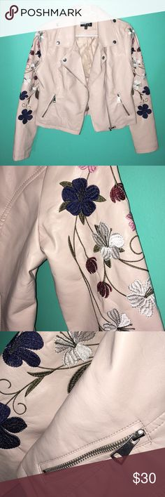 Dusty Pink Floral Leather Biker Jacket New and never worn! I love it but I have a similar jacket that fits me better so I always pick that one over this one!  ✨Welcome to my shop!  💘Make me an offer  ✨Happy to answer questions  💘Just leave a comment if you want another picture of a different side or angle  ✨I discount all bundles  💘All items I've bought directly from retailers  ✨Thanks for stopping by and happy poshing! Rue 21 Jackets & Coats