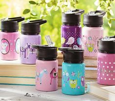 Mackenzie Water Bottles $19.50 12 oz bottle, stainless steel, BPA-lead free cute and stylish owl designs to match the lunch box and back-pack#westelm