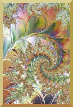 Golden Flora by `Sophquest on deviantart.com ... pretty fractal #spiral ... Looks almost like a pastel flower garden