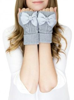 Grey Bow Fingerless Gloves! Adorable