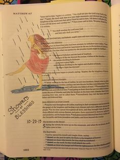 Matt. 5: 2-11.  Phyllis Harris' girl dancing in the rain! The showers of blessings that God sends us for our renewal and joy.  Prismacolor pencils.  #biblejournaling #illustratedfaith