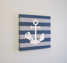 "Custom Nautical Anchor Footprint Canvas Art with Print Kit, Stripe, Personalized, Handpainted Keepsake, 12"" x12"""