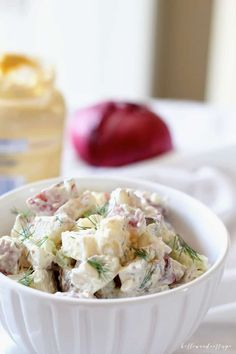 This old-fashioned potato salad recipe checks all the boxes for the perfect summertime side. Loaded with fresh dill, two varieties of mustard, and delicate baby red potatoes, you'll want to make this one all season long. Baby Potato Salad, Potato Salad Dill, Potato Salad With Egg, Ina Garten Potato Salad, Ina Garten Chicken Salad, Dill Potatoes, Roasted Potatoes, Old Fashioned Potato Salad, Cobb Salad