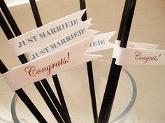 Modern Wedding Decor: Custom Cupcake + Straw Flags - Modernly Wed