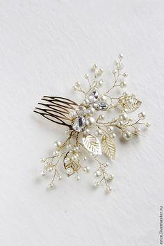 Купить Свадебный гребень для прически невесты - гребень для волос, свадебное украшение, свадебная прическа