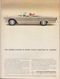 """1963 LINCOLN CONTINENTAL vintage magazine advertisement """"The added power"""" ~ (model year 1963) ~ The added power is more than a matter of horses ~"""
