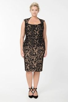 Embroidered Lace Sweetheart Cocktail Dress in Black / Ivory - Plus Size Evening Shop Plus Size Gowns, Plus Size Party Dresses, Evening Dresses Plus Size, Event Dresses, Plus Size Dresses, Evening Gowns, Look Plus Size, Plus Size Women, Holiday Outfits Women