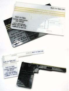 Rubber band gun business card    http://www.youtube.com/watch?v=InnUcXhVeN0    http://www.thingiverse.com/thing:21846