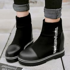 Black Friday Women's Imitation Pearl Split Joint Ankle Boots Flat Heel Boots top online fashion store for women. Flat Heel Boots, Heeled Boots, Pumps Heels, Stiletto Heels, T Strap Flats, Buckle Ankle Boots, Online Fashion Stores, Cyber Monday, Suede Leather