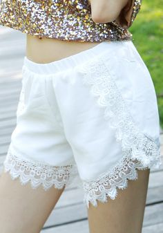 Lace Trim High-Waist Shorts