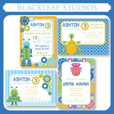 These adorable little Robot themed invitation templates can be used as birthday invitations, thank you cards, birth announcement cards, etc.,  The file contains 4 different invitation card templates