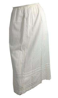 Sweet White Cotton Eyelet Lace Trimmed Half Slip circa 1950s XL