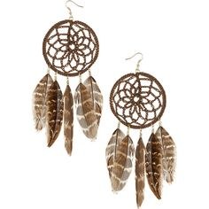 Dream catcher feather earrings ($2) ❤ liked on Polyvore featuring jewelry, earrings, accessories, fillers, women, yellow gold jewelry, feather jewelry, brown gold jewelry, earring jewelry and brown feather earrings