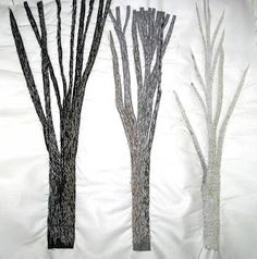 Quilted Art from Mary Katherine Hopkins: Trees - 2 Dimensional Branches and Trunks