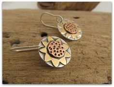 Handcrafted Sunflower earrings - hand fabricated mixed metal, sterling silver, brass and copper, metalsmith jewelry, made to order $45.