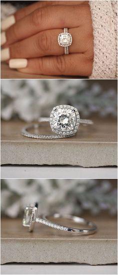 8mm Cushion Moissanite Wedding Ring Set, White Gold Ring, Half Eternity Diamond Band, Bridal Ring Set, Forever Classic Moissanite Ring #weddings #rings #weddingrings #weddingideas #engagementring