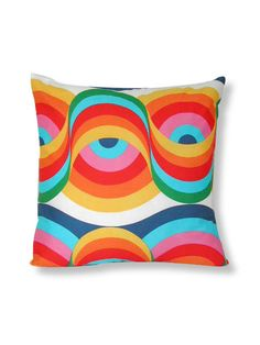 Gorgeous 16 cushion cover in a very groovy cotton print. A bright cotton print - rainbow colours in a very funky swirly pattern. Reverse is 100% ...