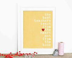 Teacher Appreciation Poster Gift Teacher Thank You Gift Art Print Best Teachers Yellow Polka Dot Red Heart on Etsy, $15.00