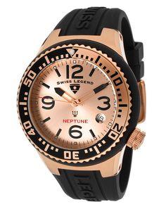 Unisex Neptune Rose Gold & Black Watch by Swiss Legend Watches on Gilt.com