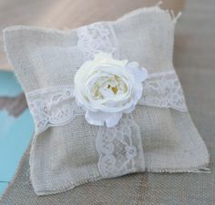 Burlap Lace Shabby Chic Vintage Inspired.  A rustic ring bearer's pillow