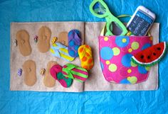 Beach Bag & Flip-Flop Matching Quiet Book Page                              …