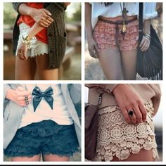 Lace shorts <3  i want all of these.