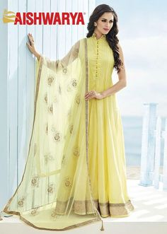 Check out our latest collection of cool and comfortable #anarkalis that are perfect for a summer evening only at #aishwaryadesignstudio ! Buy anarkali suit online - http://www.aishwaryadesignstudio.com/magnetic-yellow-anarkali-with-zardosi