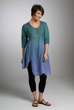 """Henri Hand-Dyed Tunic"" linen tunic by Cynthia Ashby"