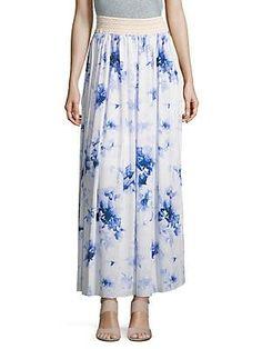 Floral Maxi Skirt, Women's, Size: Large, Black