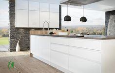 weiße Grifflose-Küchenfront mit dunkler Arbeitsplatte - Toferer - Bischofshofen Double Vanity, Bathroom, Countertop, Gardening, House, Washroom, Bath Room, Bathrooms, Downstairs Bathroom