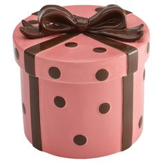 Cute Hat Box Stoneware Cookie Jar - fill this full of homemade delicious treats and give it away as a gift.