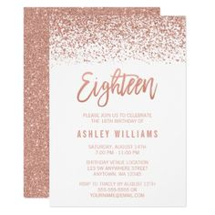 Another invite design idea we could imitate modern gold foil 18th glitter modern rose gold faux glitter 18th birthday card stopboris Image collections