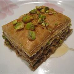 Baklava...make it with pistachios...YUM!