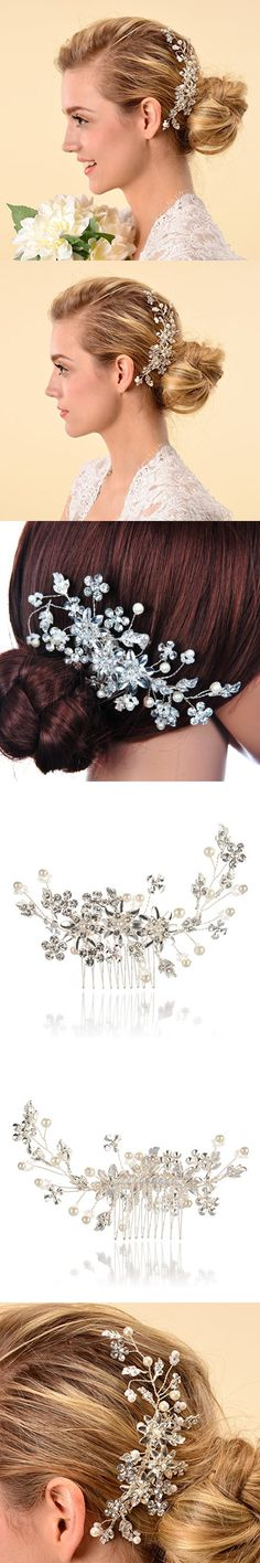 Remedios Cyrstal Flower Side Hair Comb Bridal Headpiece Wedding Accessory