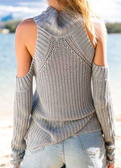 Turtleneck Long Sleeve Grey Cold Shoulder Sweater