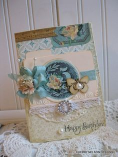 shabby card-shabby chic birthday card- MINI index FILE BUTTERFLY-handmade card