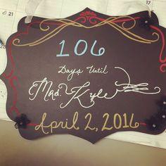 Cute calligraphy inspired wedding day countdown board