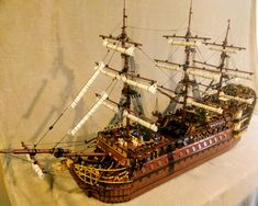 "Lego French galleon inspired by the century man of war ""Royal Louis"" minifig scale. Lego Pirate Ship, Lego Ship, Pirate Ships, Lego Factory, Lego Age, Lego Bots, Amazing Lego Creations, Lego System, Man Of War"