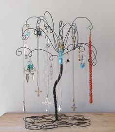 2 Black Wire Jewelry Tree Stands  Earring by TillaGarden on Etsy, $35.00
