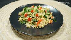Kuskus so zeleninou a s mandľami (videorecept) - recept Potato Salad, Grains, Potatoes, Rice, Ethnic Recipes, Food, Bulgur, Red Peppers, Meal