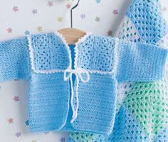 Softee Baby Crochet Baby Jacket - 3 mos 22-inches [56cm], 6 mos 23½-inches [59.5cm], 12 mos 25-inches [63.5cm].