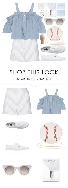 """""""You've already forgotten even though I just said it."""" by astoriachung ❤ liked on Polyvore featuring Sandro, Steve J & Yoni P, Vans, Charlotte Olympia, Sun Buddies, offtheshoulder, whiteandblue, whitesneakers and summer2016"""