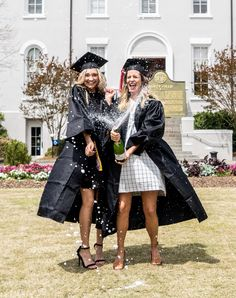 College graduation photos with my best friend! Popping a bottle of champagne on…