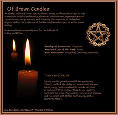 Of Brown Candles Candle Magic, Candle Spells, Candle Reading, Brown Candles, Witch Herbs, Magick, Wiccan Spells, Hoodoo Spells, Easy Spells