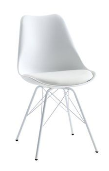 Stolen Klarup med sete i imitert skinn fra Jysk, kr Ikea Table, White Dining Chairs, Small Apartment Decorating, First Apartment, Living Room Lighting, My Room, Interior Design, Inspiration, Furniture