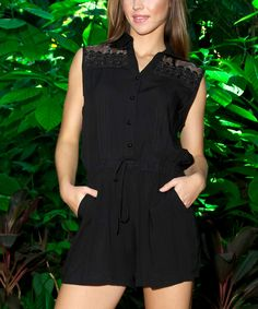 Look what I found on #zulily! La Moda Clothing Black Sheer-Accent Tie-Waist Button-Front Romper by La Moda Clothing #zulilyfinds