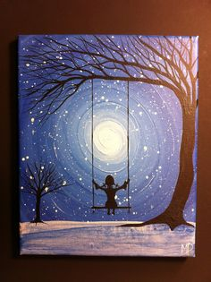 Girl on swing. come what may10 x 8 acrylic on by MichaelHProsper, $35.00